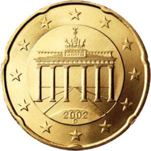 изображение браденбургских ворот на немецких евромонетах