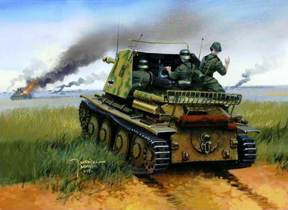 Немецкая САУ ведет пламень соответственно советским танкам
