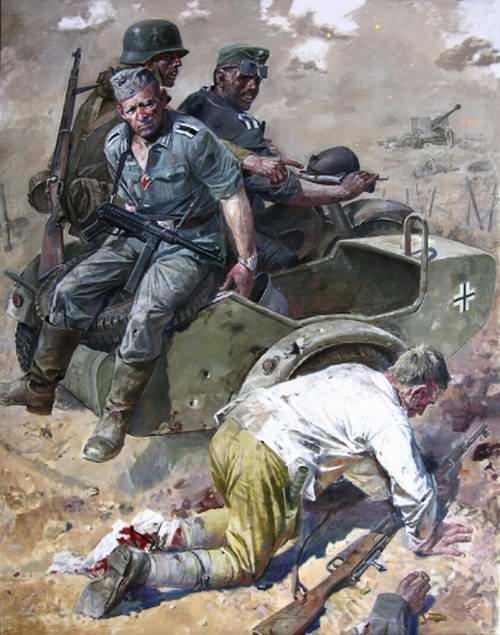 Раненый боец красной армии равным образом фрицевский патруль