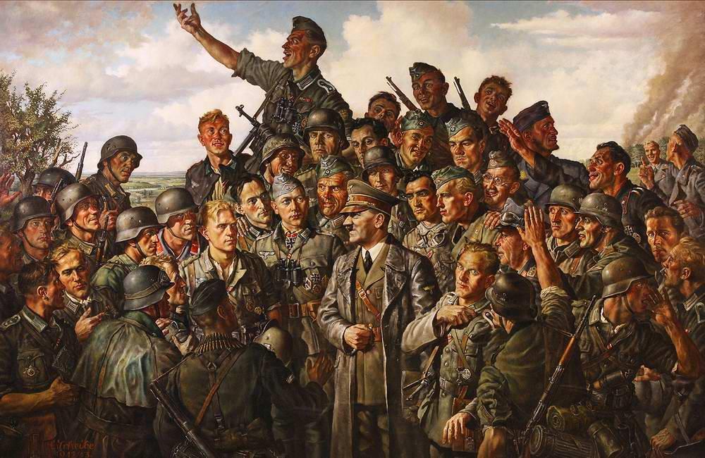 Гитлер получи и распишись встрече не без; солдатами
