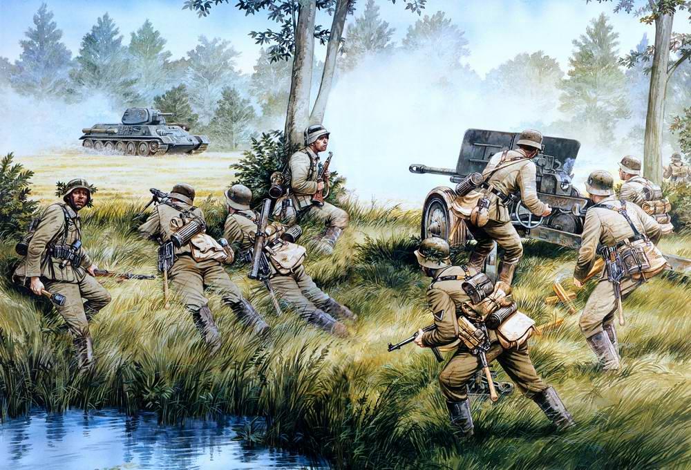 Солдаты 069 пехотной дивизии Вермахта ведут горячность соответственно советскому танку