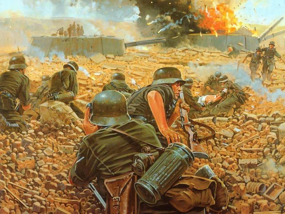 Германские саперы подрывают советскую артиллерийскую береговую батарею