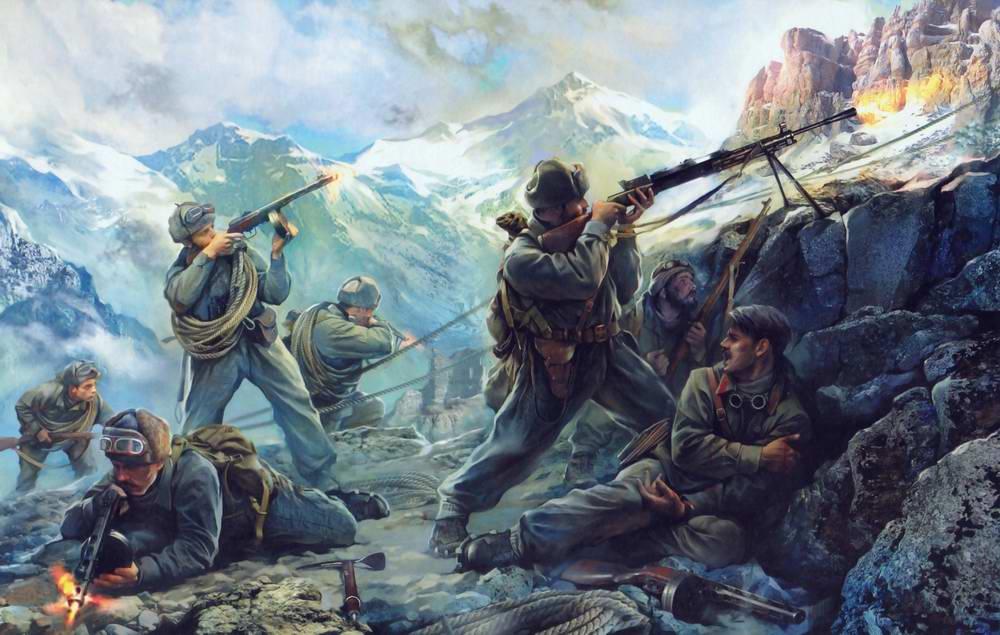 Бой на горных отрогах Северного Кавказа
