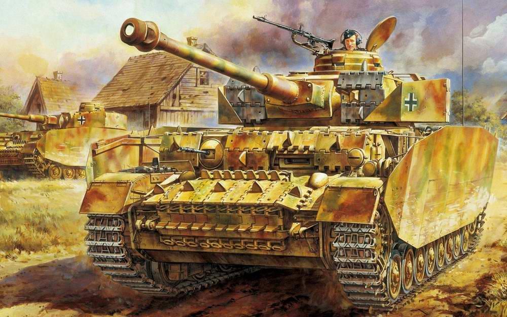Немецкие танки получи и распишись окраине русской деревни