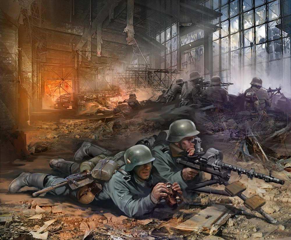 Сталинград - пулеметчики Вермахта во разрушенном цеху