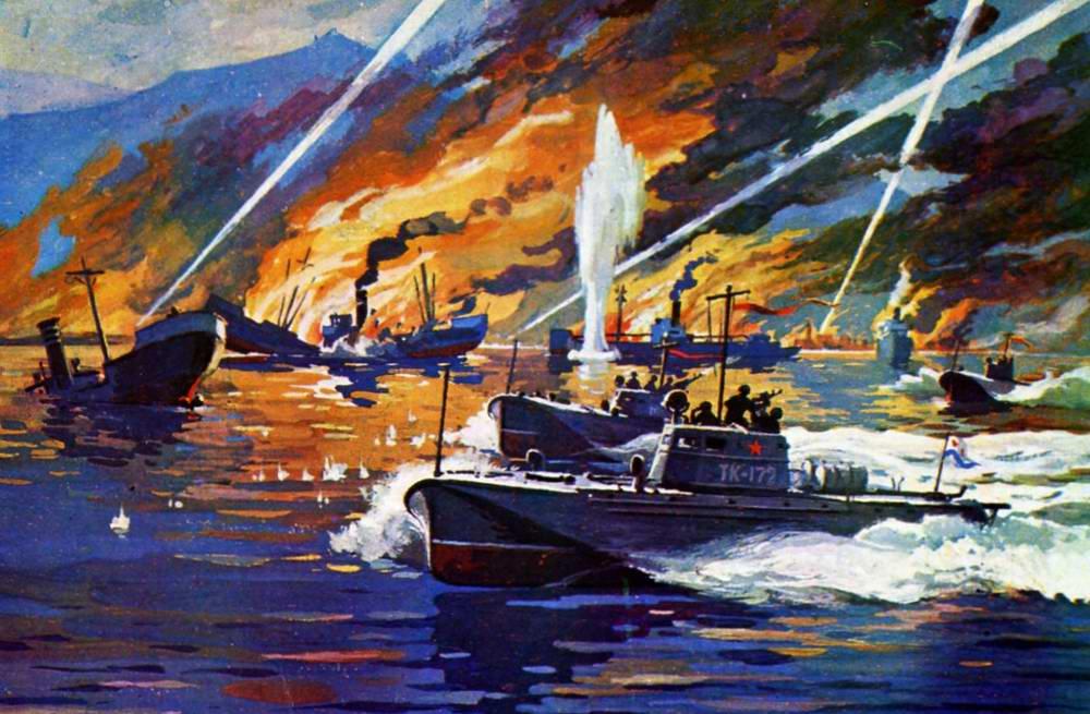 Атака советских торпедных катеров для немецкие транспортные суда
