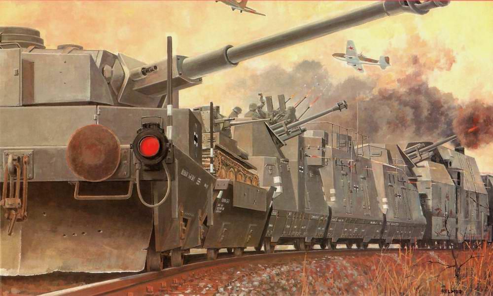 Немецкий бронепоезд отражает рейд советской авиации