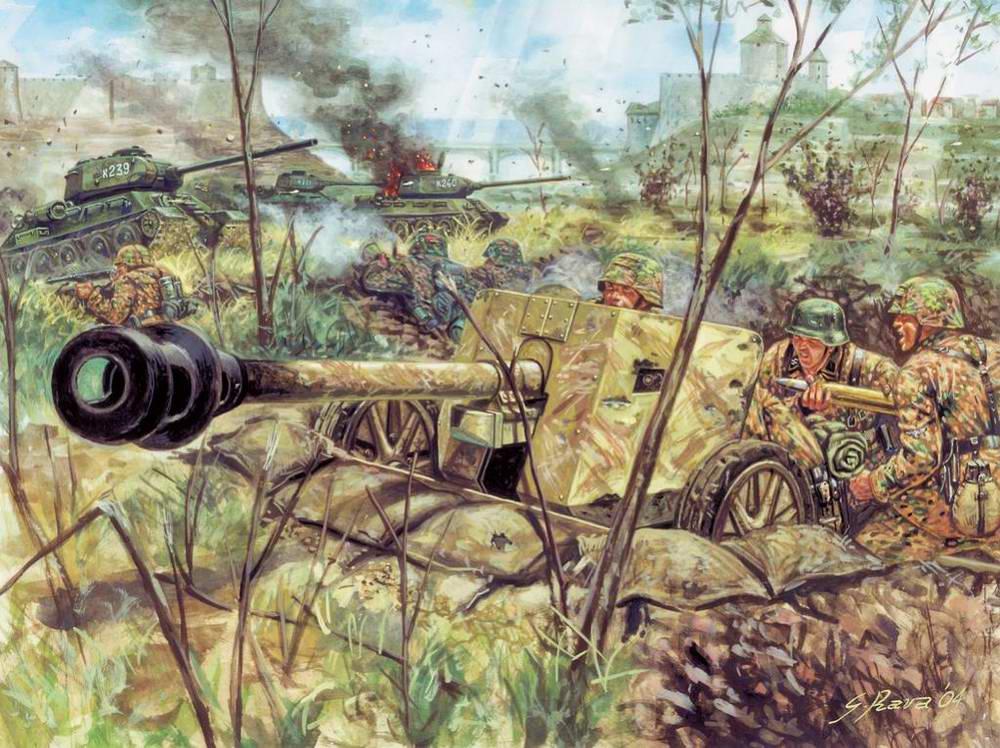 Немецкие артиллеристы отбиваются через русских танков