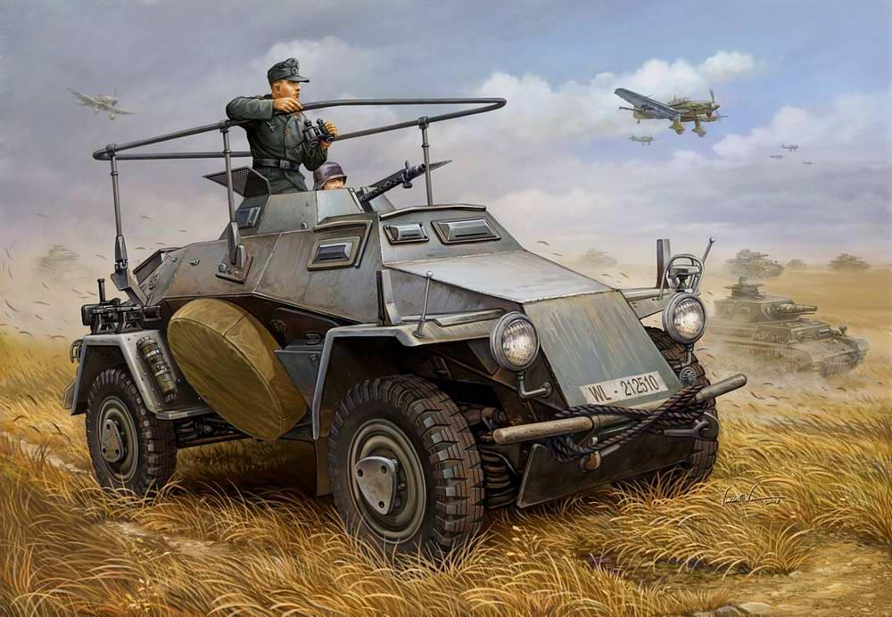 Бронетехника Вермахта на наступлении
