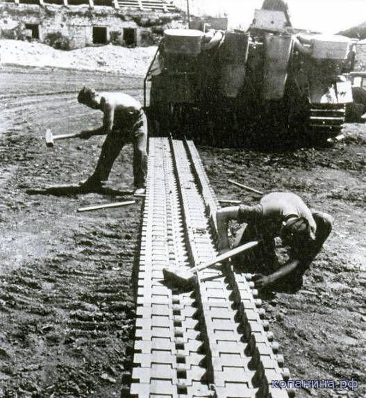 замена гусеницы на танке