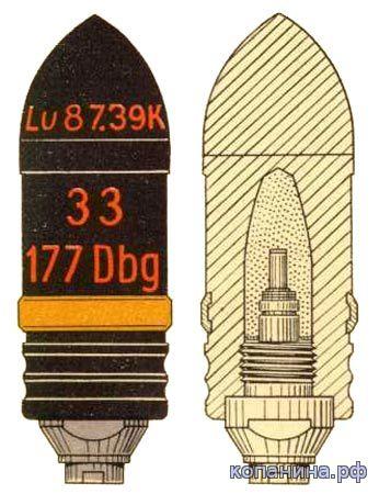 немецкий бронебойный снаряд pzgr. 39 3.7cm pak