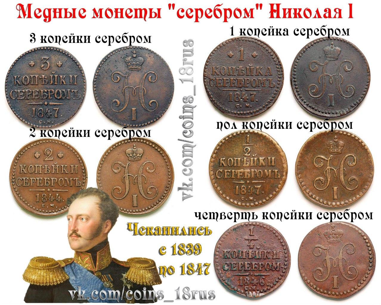 Медные копейки серебром Николай первый