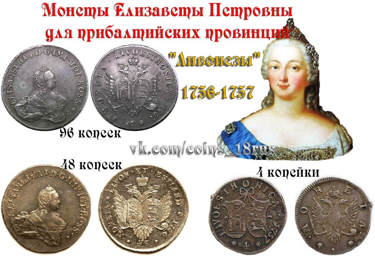 Монеты Елизаветы для прибалтики
