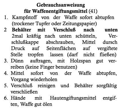 Инструкция к WaffenEntgiftungsmittel для печати