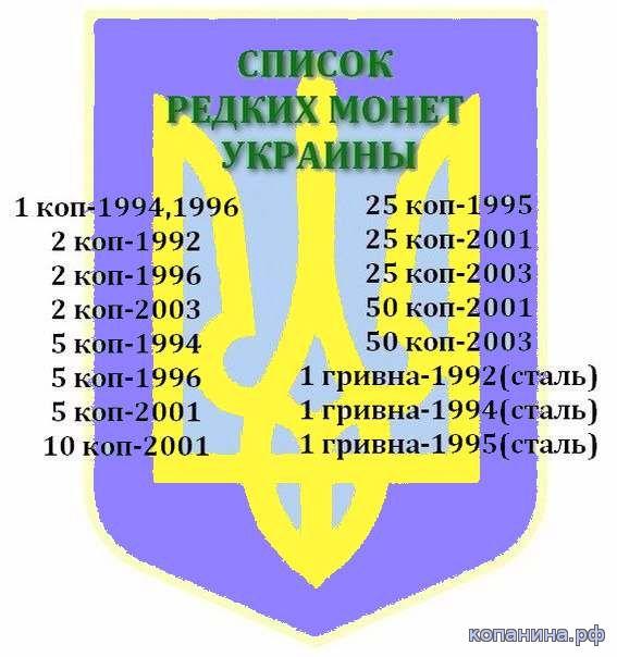дорогие и редкие монету украинские