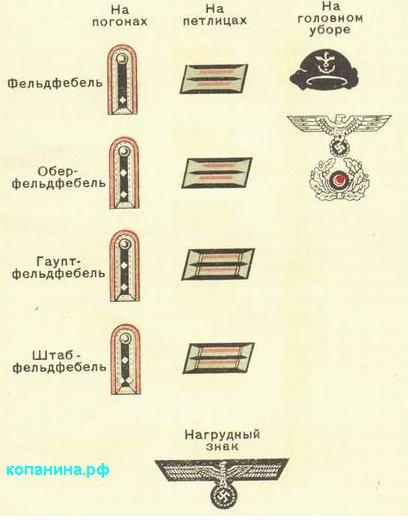 Знаки различия офицеров немецких танкистов