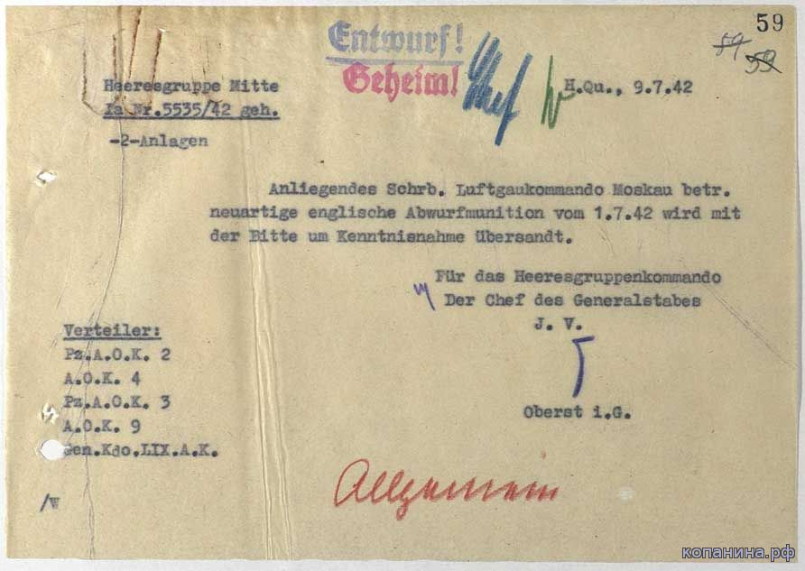 Ненмецкие разведсводки и донесения
