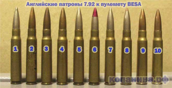 английские 7.92 патроны к пулемету Besa