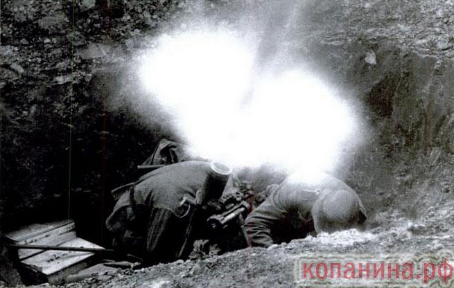 огонь из миномета немецкого