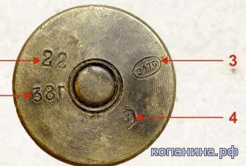 Маркировка клейма донной части гильз выстрелов ШВАК 20мм