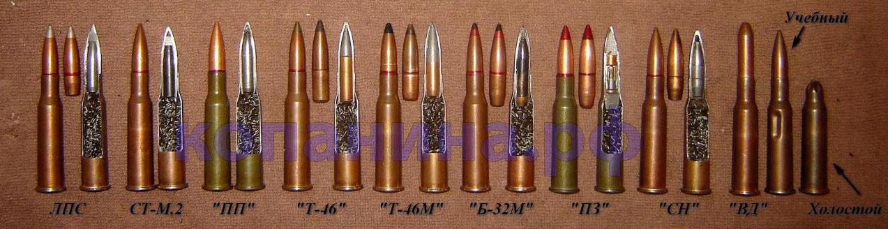 разрез патронов винтовки мосина