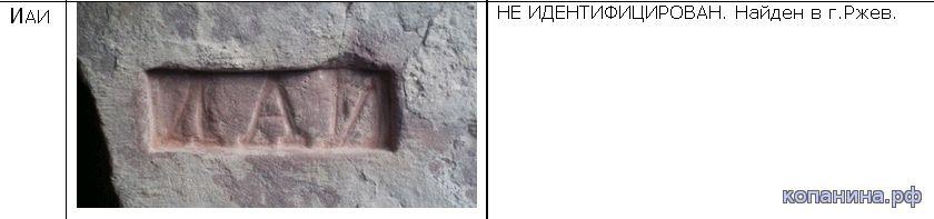 старинные кирпичи с надписями в ржеве