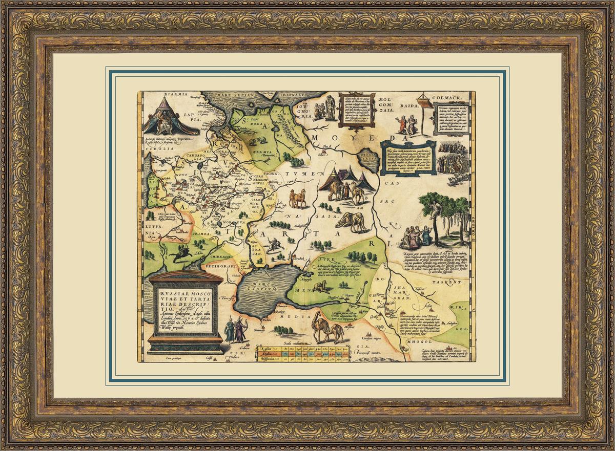 старинные карты в багетах
