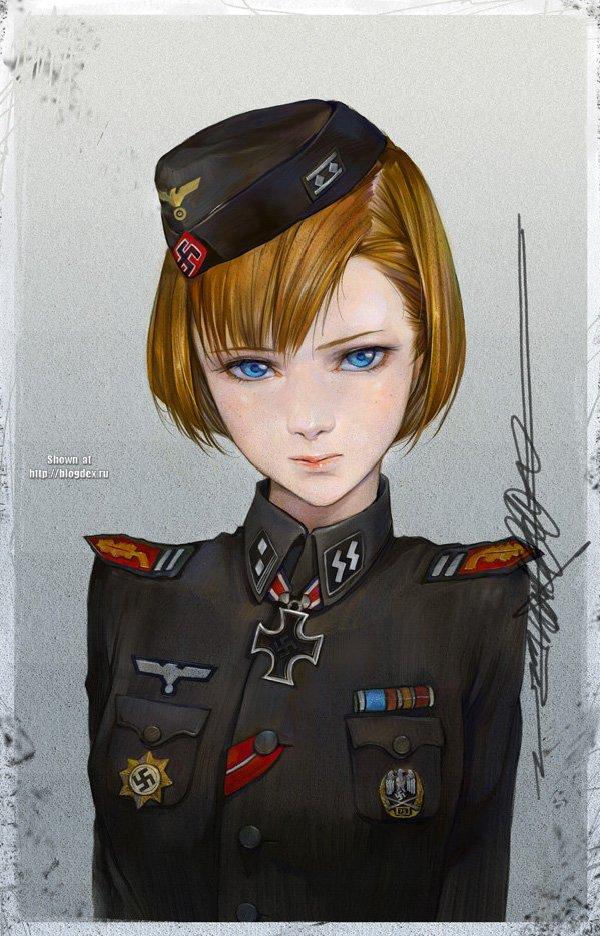 красивая немка в форме рисунок