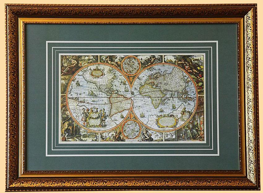 старая карта москвы в рамке на стену