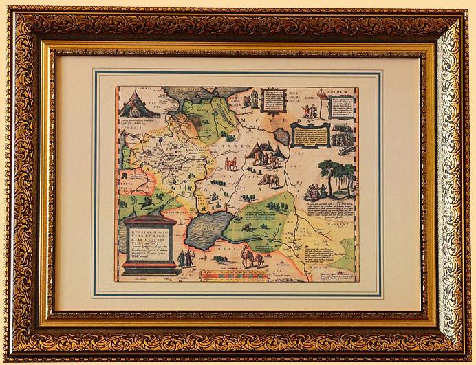 интерьерная старинная карта тартарии евразия в рамке на стену