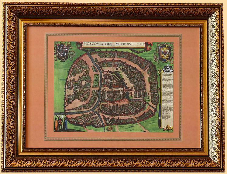 антикварная карта российской империи - старинная карта Москвы на стену