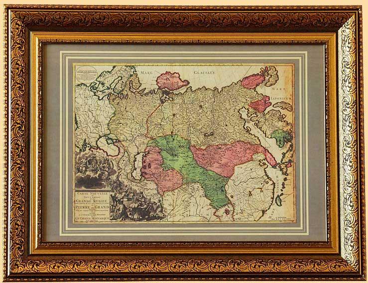 антиквартная карта российский империи в раме
